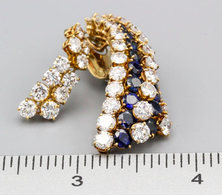 Van Cleef & Arpels Sapphire, Diamond and Gold Ear Pendant Earrings For Sale 9