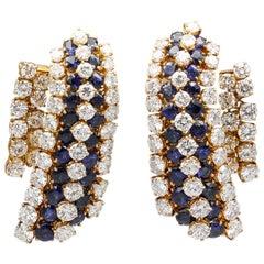 Van Cleef & Arpels Sapphire, Diamond and Gold Ear Pendant Earrings