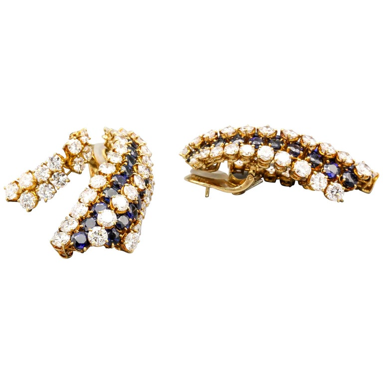 Van Cleef & Arpels Sapphire, Diamond and Gold Ear Pendant Earrings For Sale