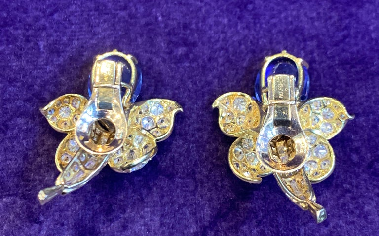 Van Cleef & Arpels Sapphire & Diamond Flower Earrings For Sale 1