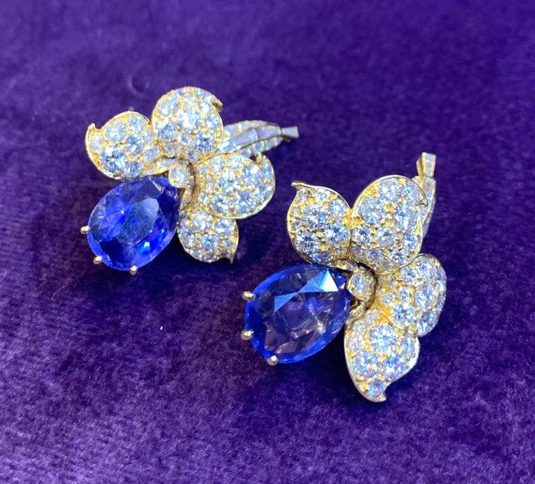 Van Cleef & Arpels Sapphire & Diamond Flower Earrings For Sale 3