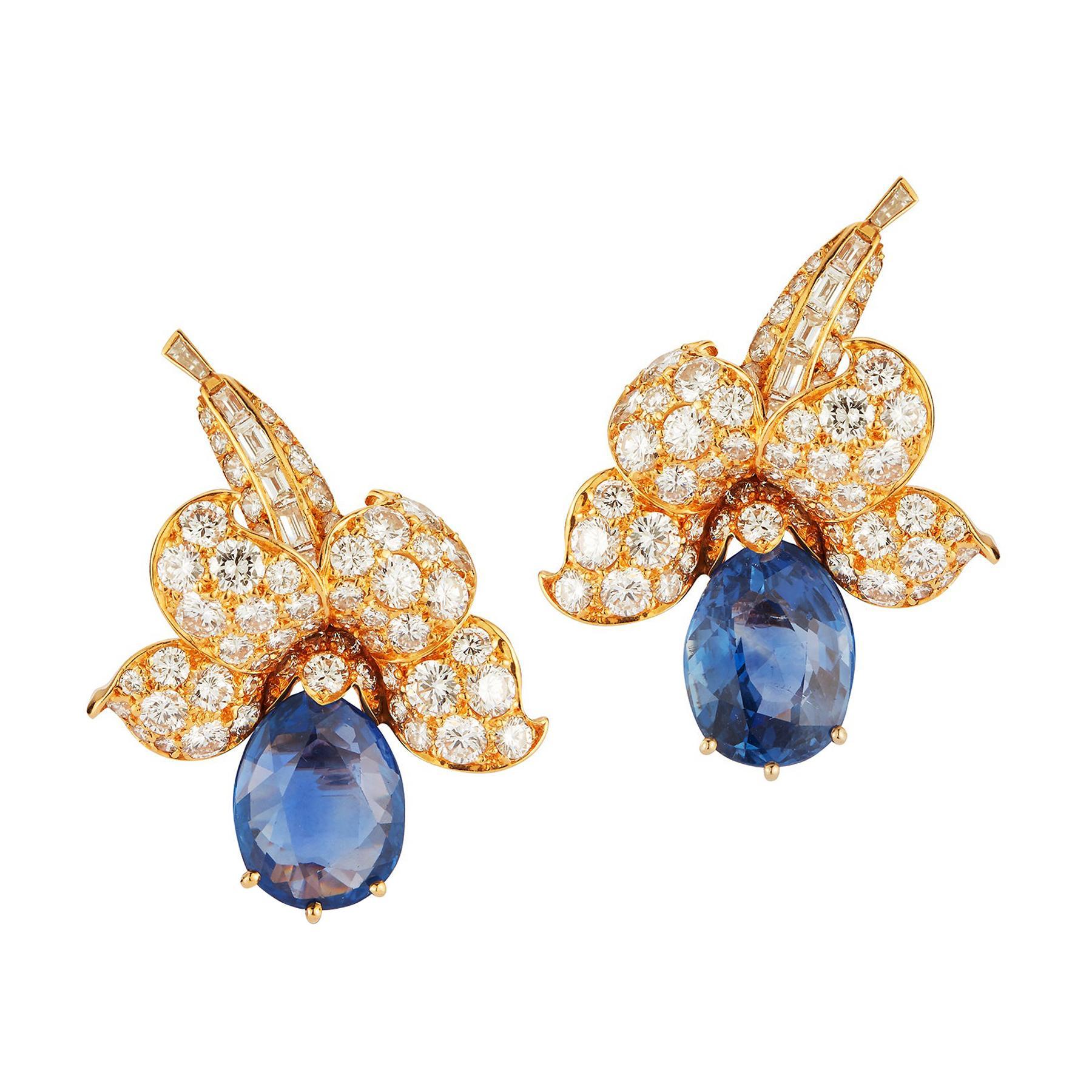 Van Cleef & Arpels Sapphire & Diamond Flower Earrings