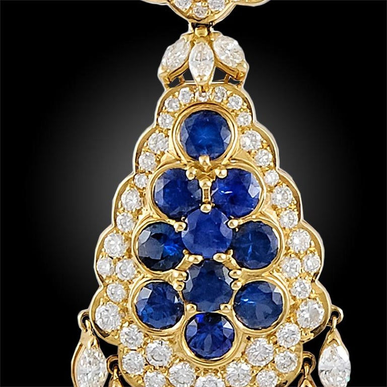 Van Cleef & Arpels Sapphire Diamond Gold Ear Clips In Good Condition For Sale In New York, NY