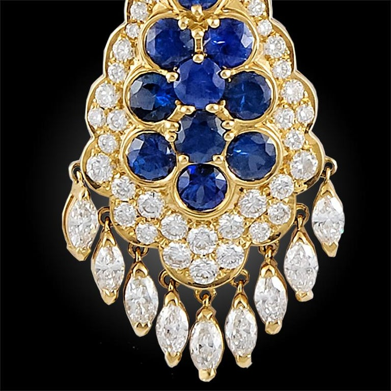 Women's Van Cleef & Arpels Sapphire Diamond Gold Ear Clips For Sale