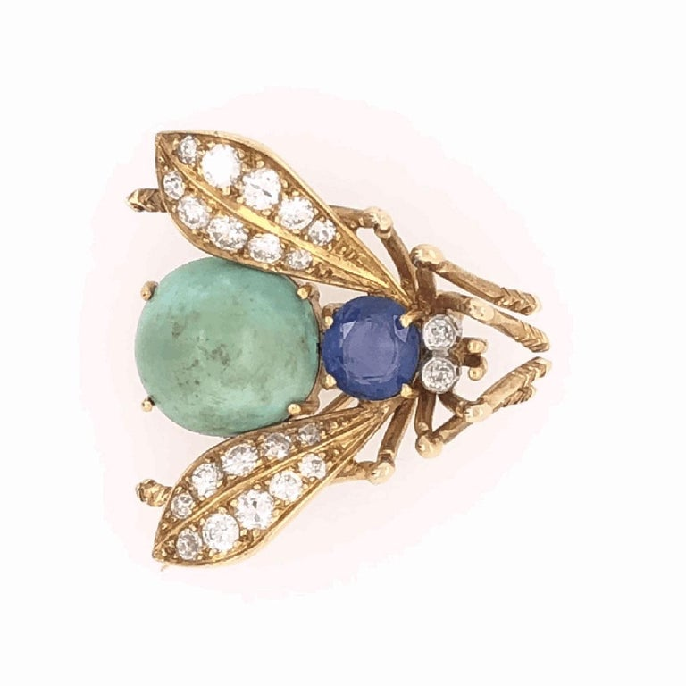 Modernist Van Cleef & Arpels Sapphire Diamond Gold Fly Bee Brooch Pin Fine Estate Jewelry For Sale