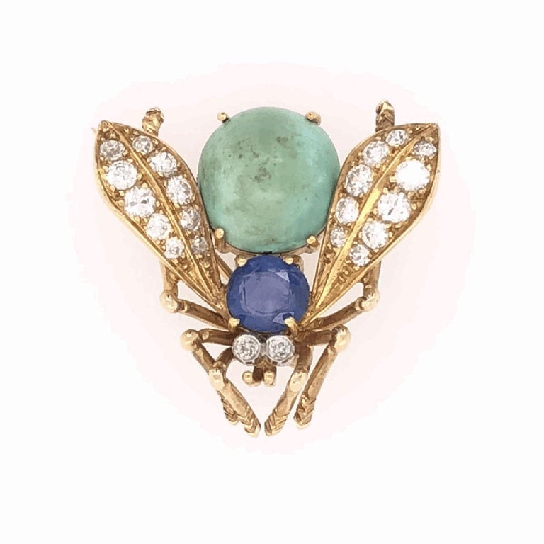 Van Cleef & Arpels Sapphire Diamond Gold Fly Bee Brooch Pin Fine Estate Jewelry In Excellent Condition For Sale In Montreal, QC