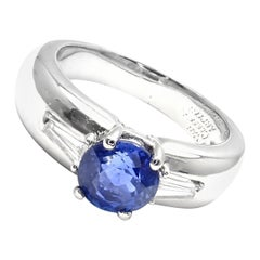 Van Cleef & Arpels Sapphire Diamond Platinum Band Ring