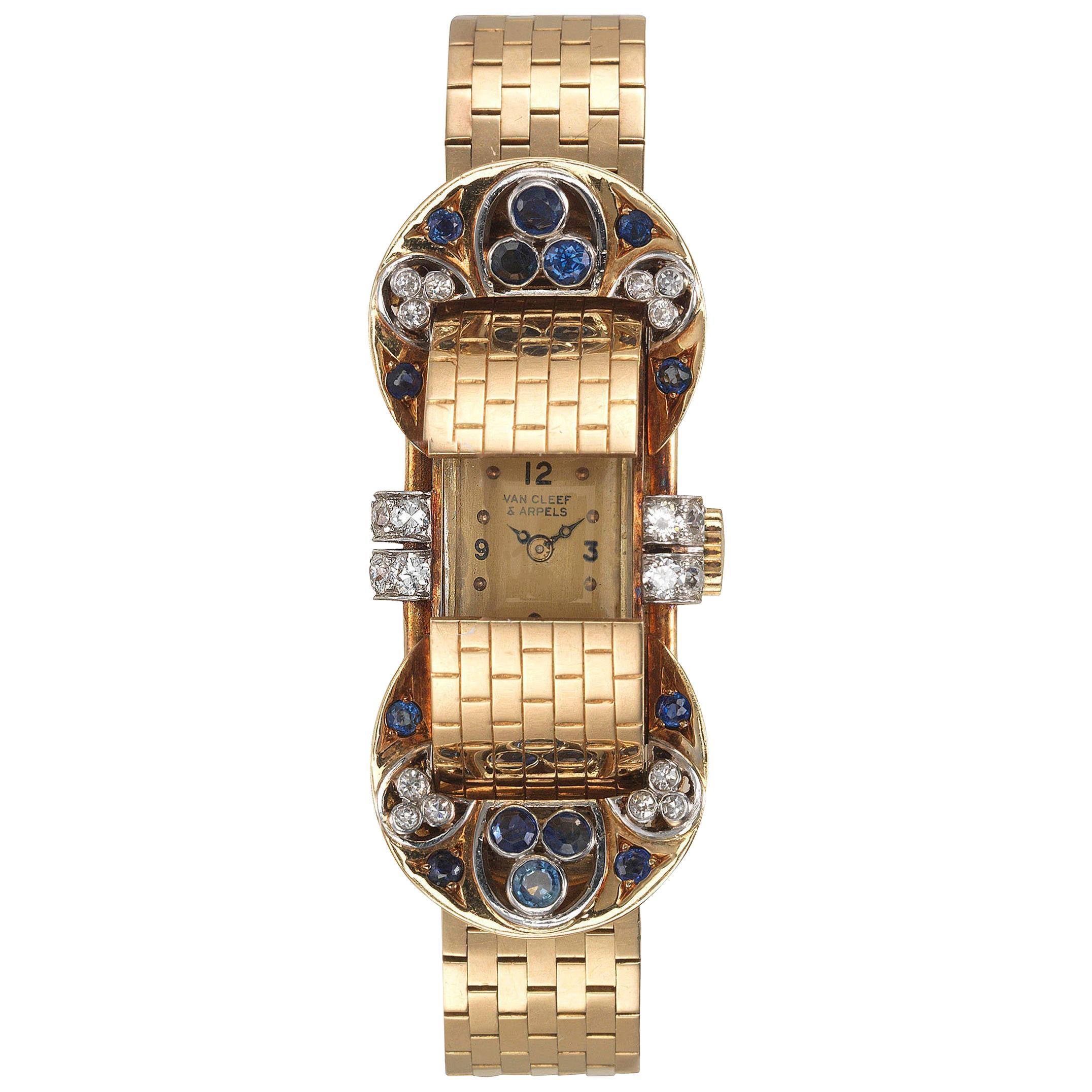 Van Cleef & Arpels Sapphire Diamond Yellow Gold Retro Mystery Watch-Bracelet