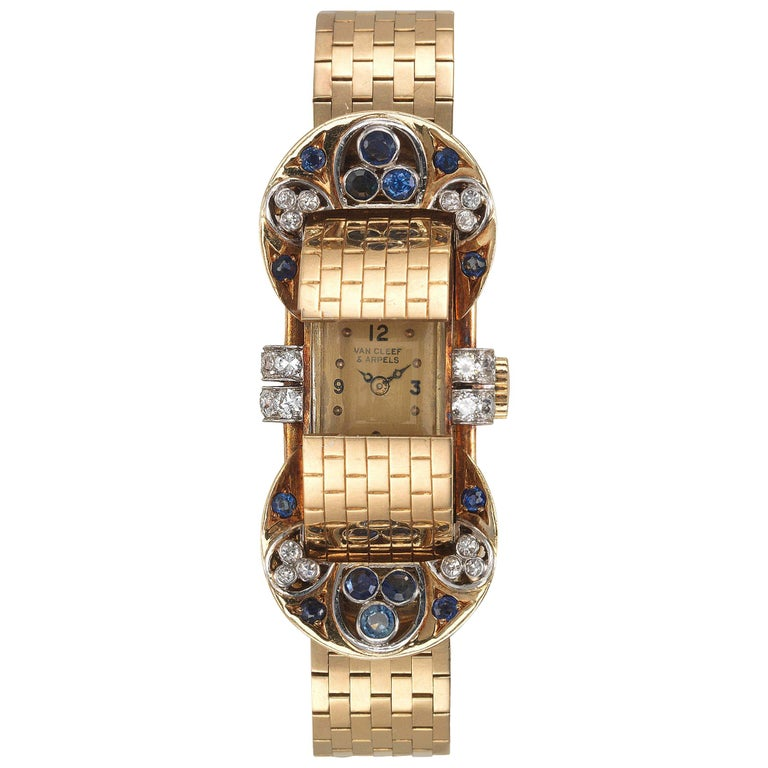 Van Cleef & Arpels Sapphire Diamond Yellow Gold Retro Mystery Watch-Bracelet For Sale