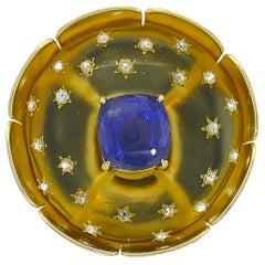 Van Cleef & Arpels Sapphire Gold Brooch Pin Clip, 13.15 Carat No Heat GIA