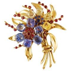 Van Cleef & Arpels Sapphire Ruby Gold Flower Brooch