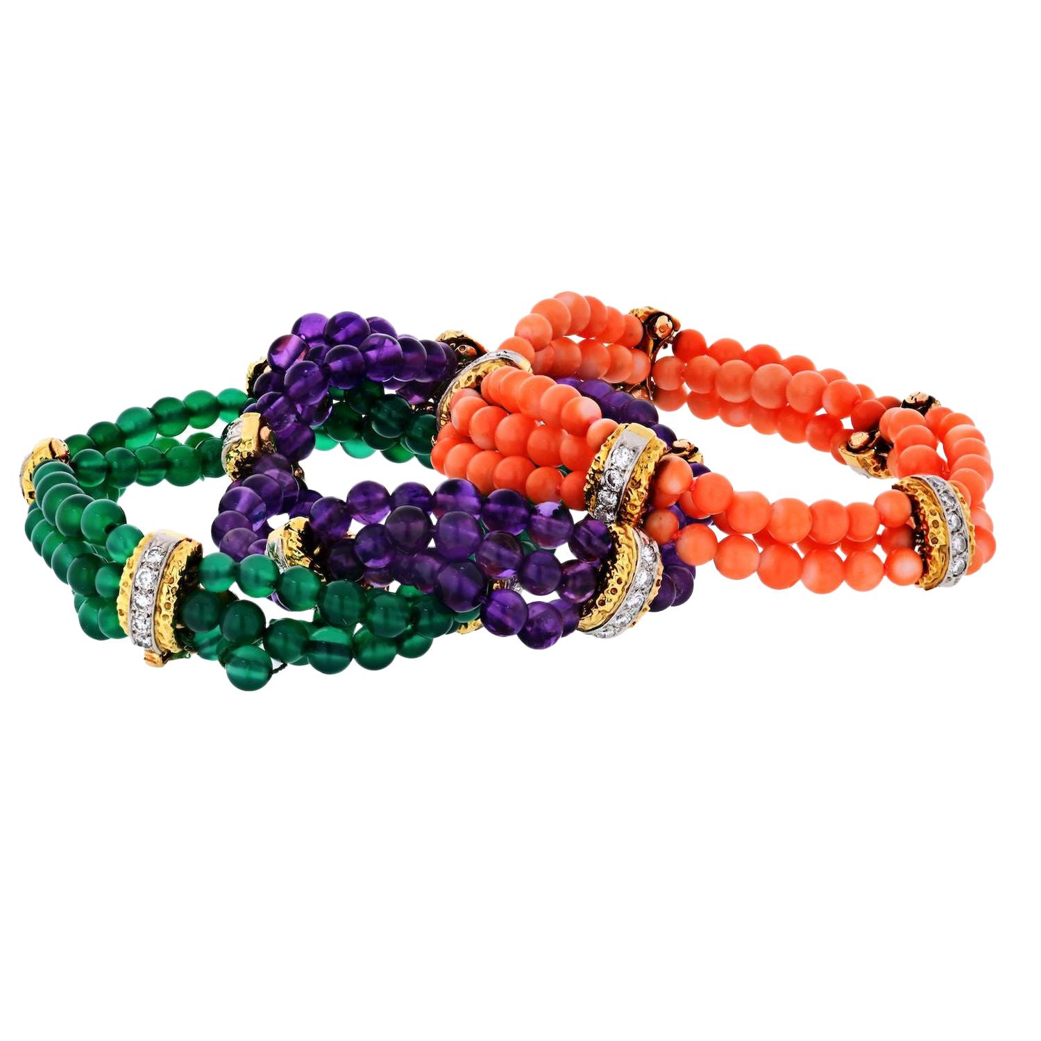 Van Cleef & Arpels Set of Three Coral, Chalcedony and Amethyst Bracelets
