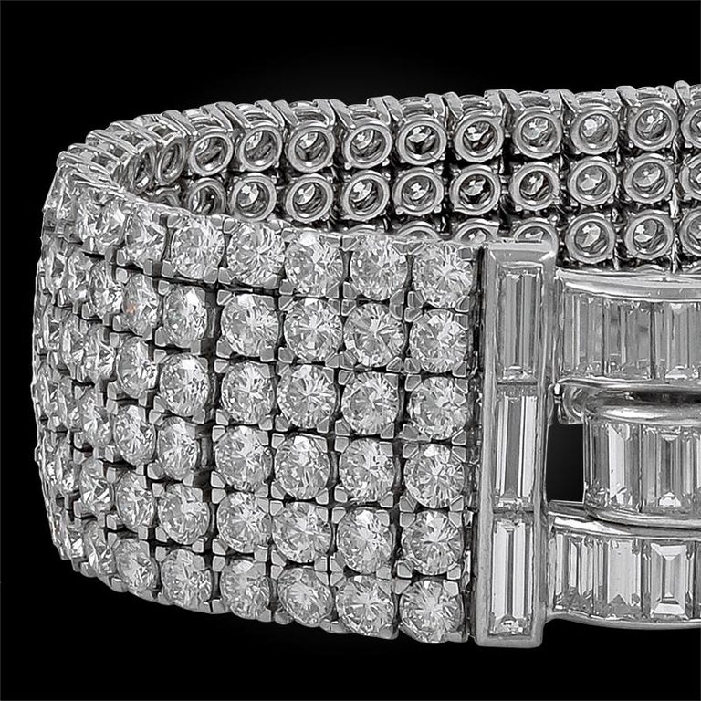 Van Cleef & Arpels Six-Row Diamond Platinum Bracelet In Good Condition For Sale In New York, NY