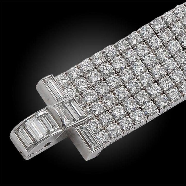 Women's or Men's Van Cleef & Arpels Six-Row Diamond Platinum Bracelet For Sale