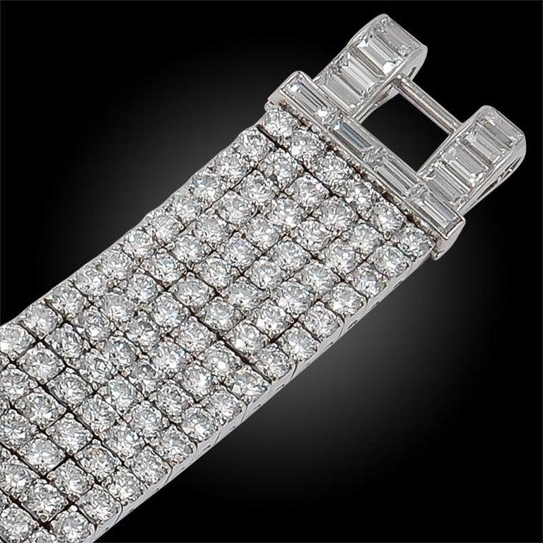 Van Cleef & Arpels Six-Row Diamond Platinum Bracelet For Sale 1