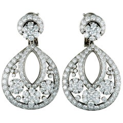 Van Cleef & Arpels Snowflake Diamond Platinum Large Omega Back Earrings