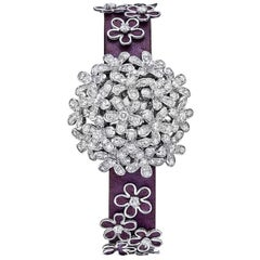 Van Cleef & Arpels Socrate 18 Karat White Gold and Diamond Bracelet Watch