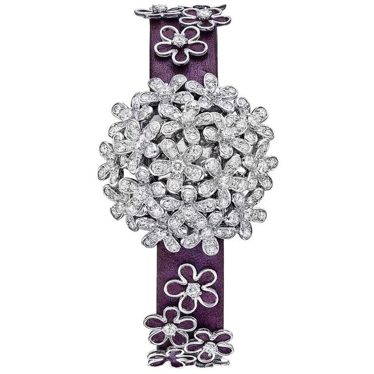 Van Cleef & Arpels Socrate 18 Karat White Gold and Diamond Bracelet Watch For Sale