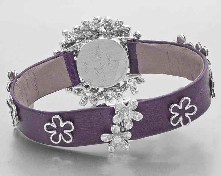 Women's Van Cleef & Arpels Socrate 18 Karat White Gold and Diamond Bracelet Watch For Sale