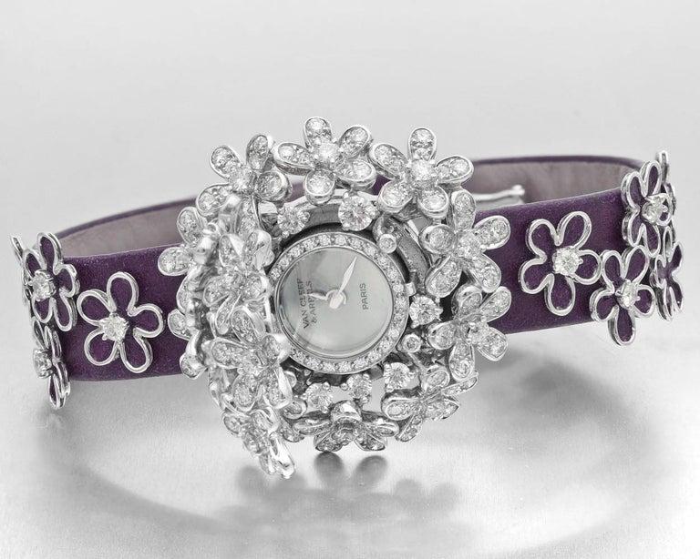 Van Cleef & Arpels Socrate 18 Karat White Gold and Diamond Bracelet Watch For Sale 1