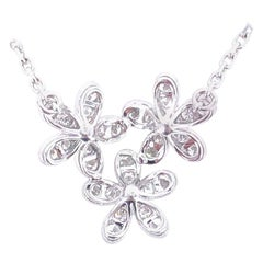 Van Cleef & Arpels Socrate Diamond Three Flower Pendant 18 Karat White Gold