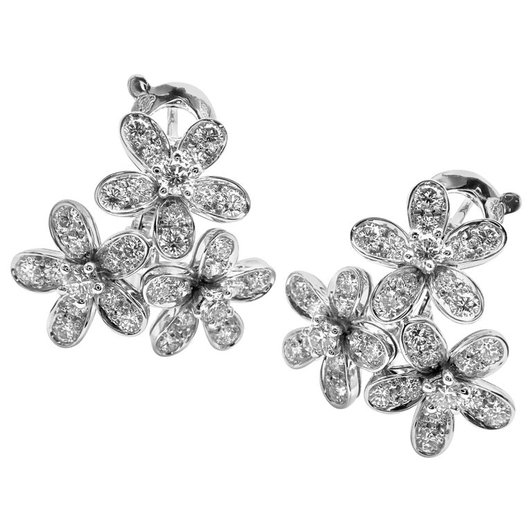 70a4d75f35eaa Van Cleef   Arpels Socrate Diamond Three Flowers White Gold Earrings For  Sale