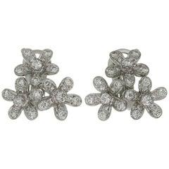 Van Cleef & Arpels Socrate Diamond White Gold 3 Flower Earrings