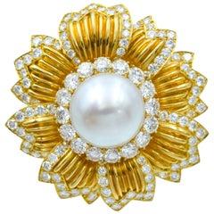 Van Cleef & Arpels South Sea Cultured Pearl and Diamond Brooch