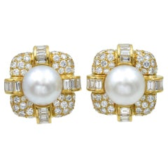 Van Cleef & Arpels South Sea Cultured Pearl and Diamond Ear-Clips