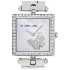 Van Cleef & Arpels Square Papillon hh22989 18 Karat Gold Mother of Pearl Dial 2