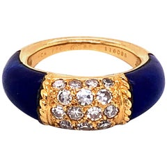 Van Cleef & Arpels Stacking Philippine Ring, Lapis Lazuli, Diamonds, Yellow Gold