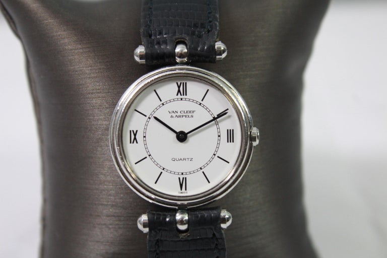 Nice Van Cleef and Arpels Watch in stainless steel   Diameter 2.4 mm  Buckle and Bracelet are generic ones ( not Van Cleef)  Good working condition