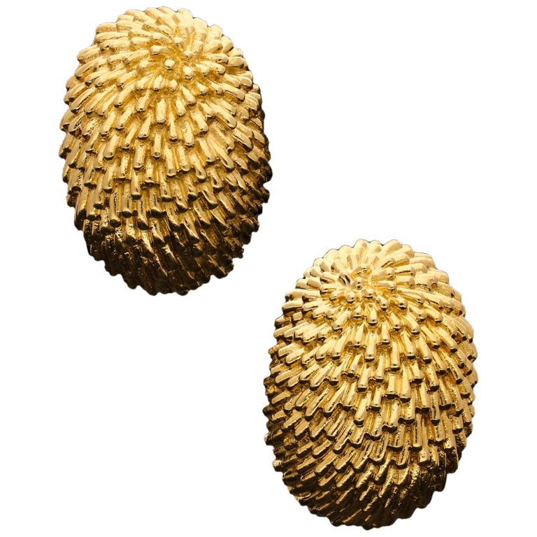 Van Cleef & Arpels, Stylish 'Hedgehog' Ear Clips of Domed Oval Shape in 18ct Go For Sale