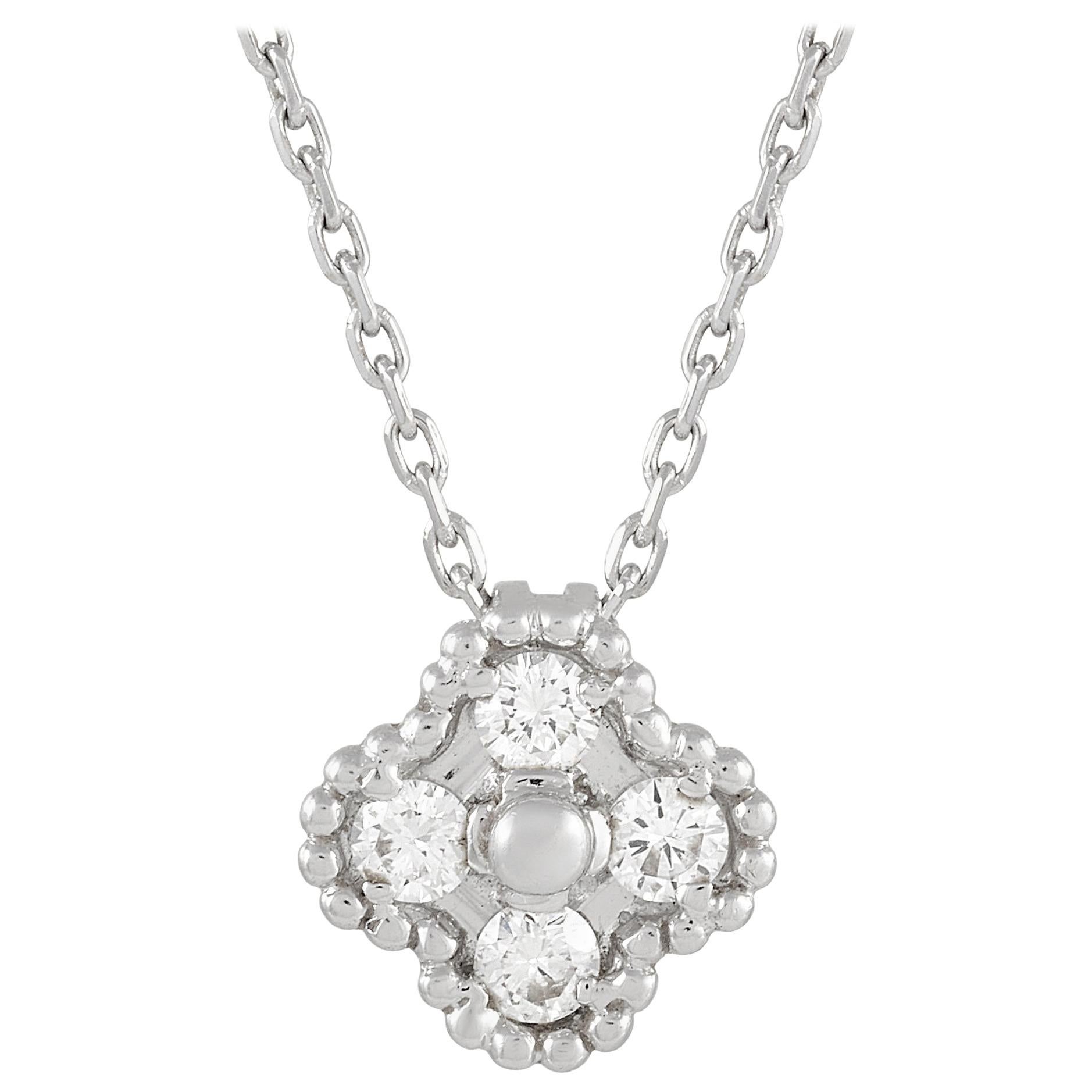Van Cleef & Arpels Sweet Alhambra 18k White Gold Diamond Necklace