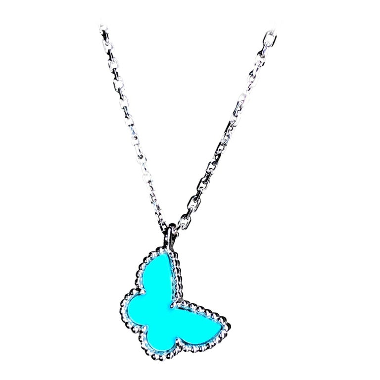 Van Cleef & Arpels Sweet Alhambra 18k White Gold Turquoise Pendant Necklace