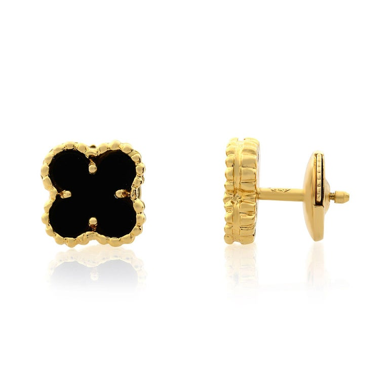 The Sweet Alhambra jewelry creations by Van Cleef & Arpels have featured delightful lucky motifs in miniature form since 2007. Sweet Alhambra ear studs,  18k yellow gold, 2  onyx stones, small model, 8mm. Excellent pre-owned condition, original