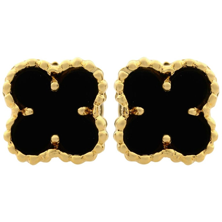Van Cleef & Arpels Sweet Alhambra 18K Yellow Gold Onyx Small Model Stud Earrings For Sale