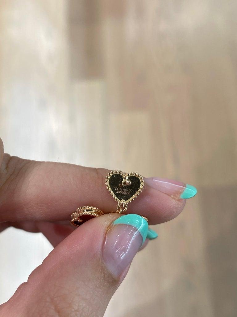 Van Cleef & Arpels Sweet Alhambra Effeuillage Diamond Heart Clover Dangles In Excellent Condition For Sale In Houston, TX