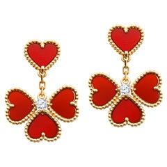 Van Cleef & Arpels Sweet Alhambra Effeuillage Diamond Heart Clover Dangles