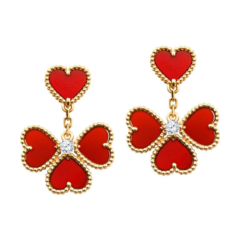 Van Cleef & Arpels Sweet Alhambra Effeuillage Diamond Heart Clover Dangles For Sale