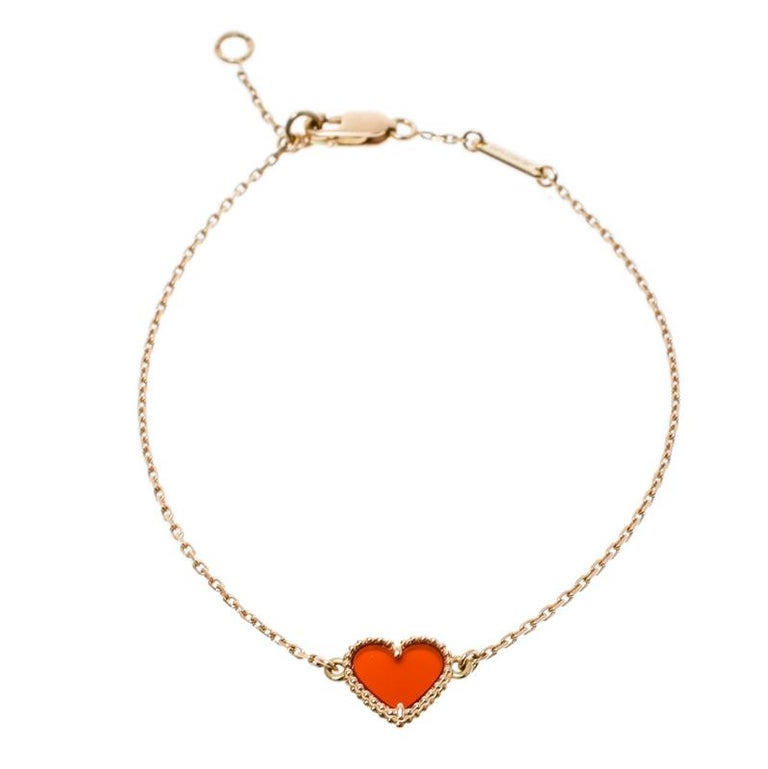 d41d9913c79b5 Van Cleef & Arpels Sweet Alhambra Heart Carnelian Rose Gold Bracelet