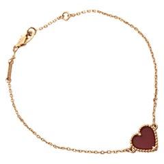 Van Cleef & Arpels 'Sweet Alhambra Heart' Gold and Carnelian Bracelet