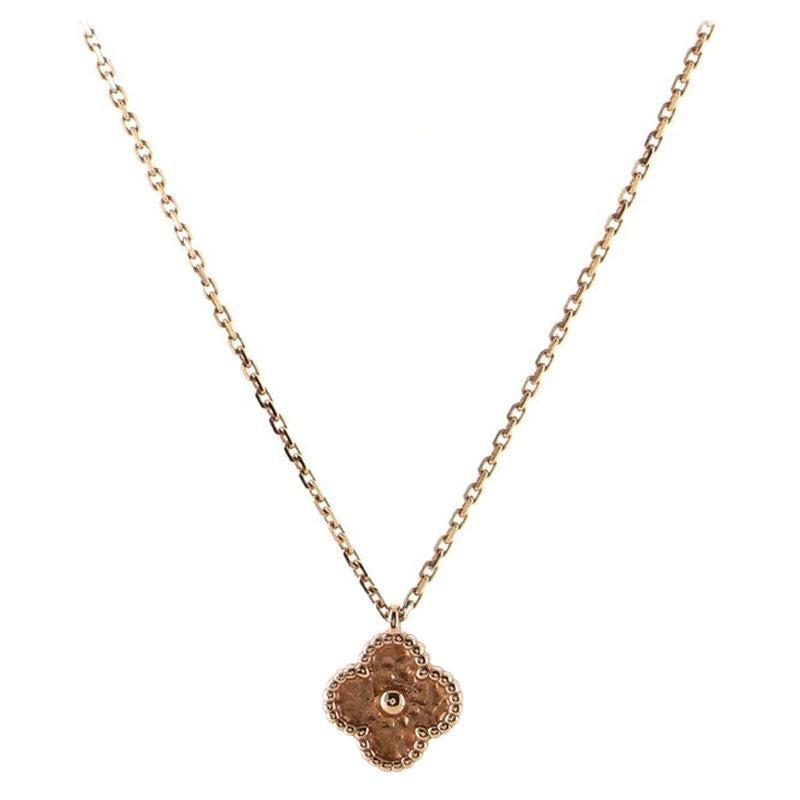 Van Cleef & Arpels Sweet Alhambra Pendant Necklace 18K Rose Gold