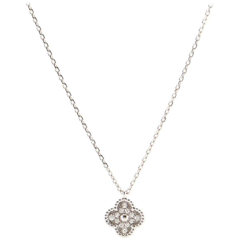 Van Cleef & Arpels Sweet Alhambra Pendant Necklace 18K White Gold with Diamonds