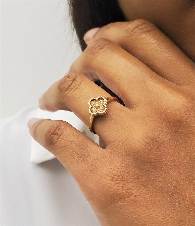 Van Cleef & Arpels Sweet Alhambra Rose Gold Ring For Sale 2