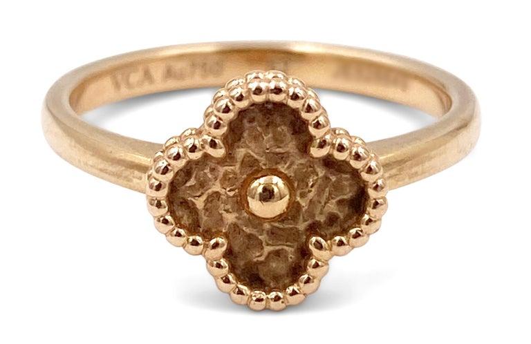 Van Cleef & Arpels Sweet Alhambra Rose Gold Ring For Sale 1