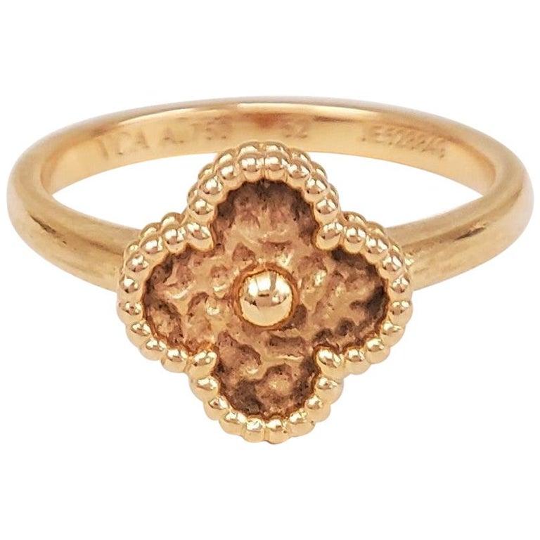 Van Cleef & Arpels Sweet Alhambra Rose Gold Ring For Sale