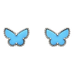 Van Cleef & Arpels Sweet Alhambra Turquoise Butterfly 18K White Gold Earstuds