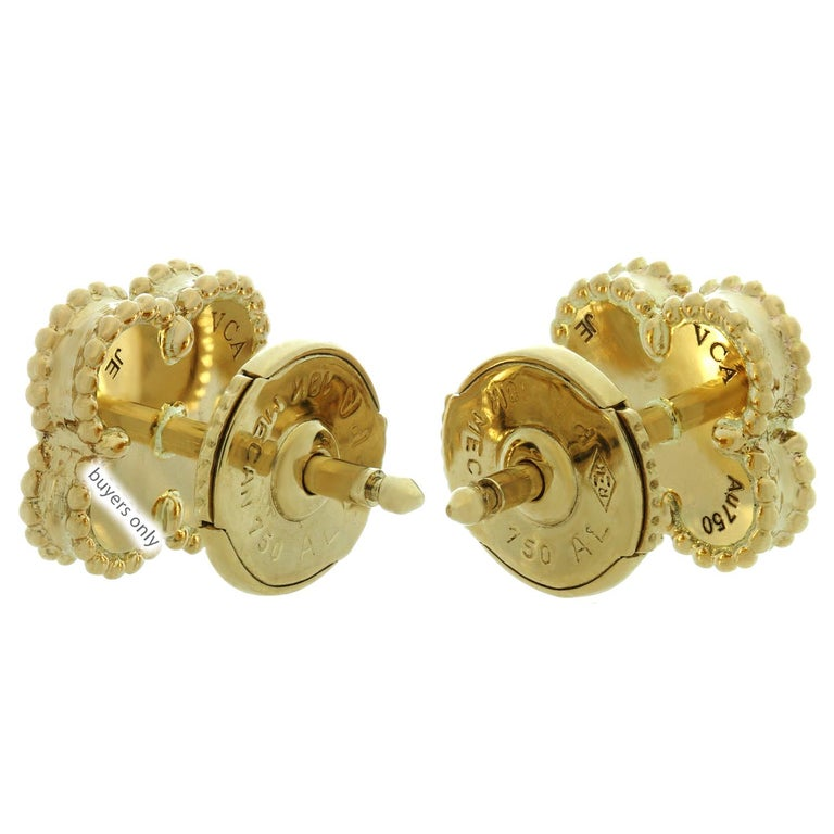 Van Cleef & Arpels Sweet Alhambra Turquoise Yellow Gold Stud Earrings For Sale 1