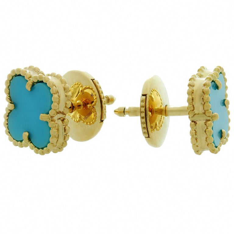 Van Cleef & Arpels Sweet Alhambra Turquoise YG Earrings, VCA Pouch Papers For Sale 1